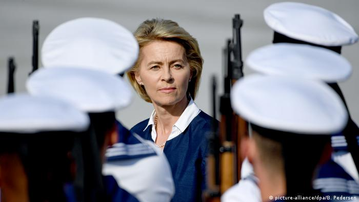 Defense Minister Ursula von der Leyen reviewing troops in Berlin