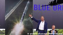 Nov 22, 2015 - Van Horn, Texas, U.S. - Blue Origin founder JEFF BEZOS announced that Cape Canaveral will serve as the launch and manufacturing site for its Orbital Launch Vehicle. Blue Origin today announced that its New Shepard space vehicle successfully flew to space, reaching its planned test altitude of 329,839 feet (100.5 kilometers) before executing a historic landing back at the launch site in West Texas. Blue Origin's innovative New Shepard spacecraft, a reusable sub-orbital rocket and capsule designed to boost passengers out of Earth's atmosphere for brief forays in space, completed a second test flight Monday, the first to include a fully successful landing of both the crew capsule and its booster, Amazon founder Jeff Bezos announced Tuesday. (Credit Image: © Blue Origin/ZUMA Wire) |