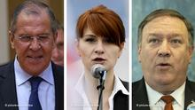Combined photo of Sergei Lavrov, Maria Butina, and Mike Pompeo