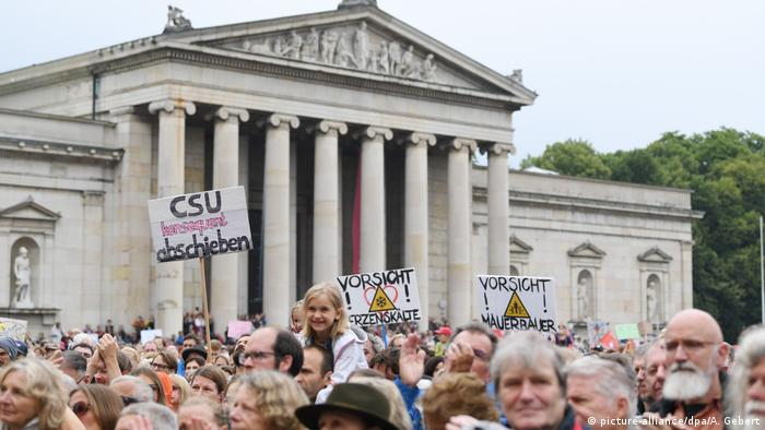 Demonstrators protest against the CSU in Munich