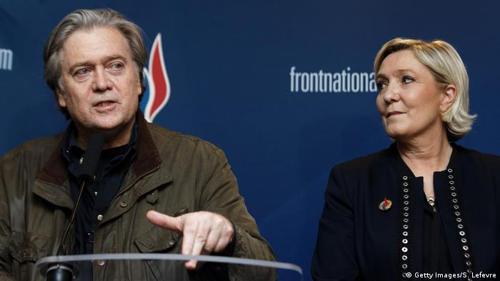 Steve Bannon and Marine Le Pen in Lille (Getty Images/S. Lefevre)