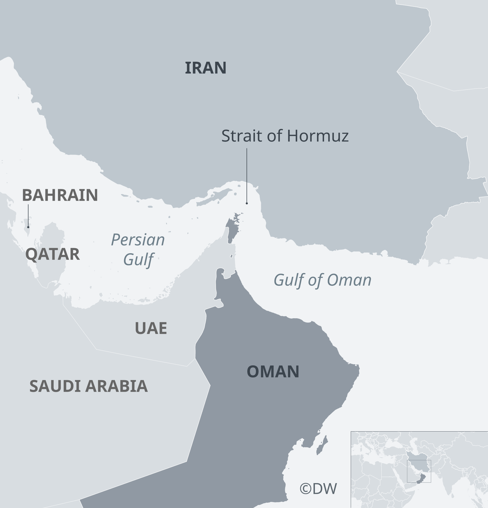 Iran lies across the Persian Gulf and the Strait of Hormuz from the Sunni Muslim states