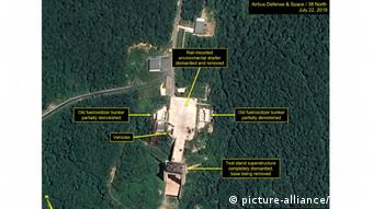 This satellite image, dated July 22, 2018 and provided by 38 North on July 23, shows key facilities being dismantled at the Sohae Satellite Launching Station, North Korea's main missile engine testing site since 2012.