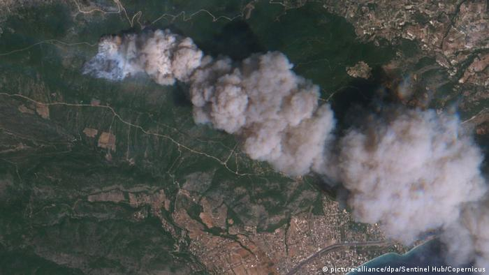 Satellite picture of a forest fire in Greece.