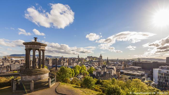 View across Edinburgh city as seen from Calton Hill, Scotland