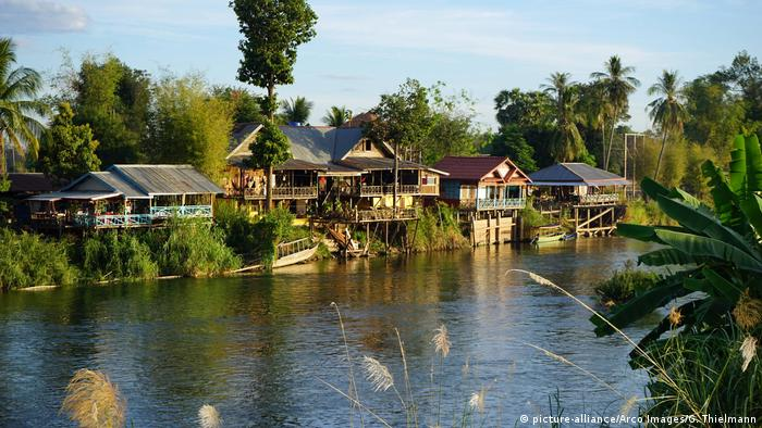 Houses on the Mekong in Laos