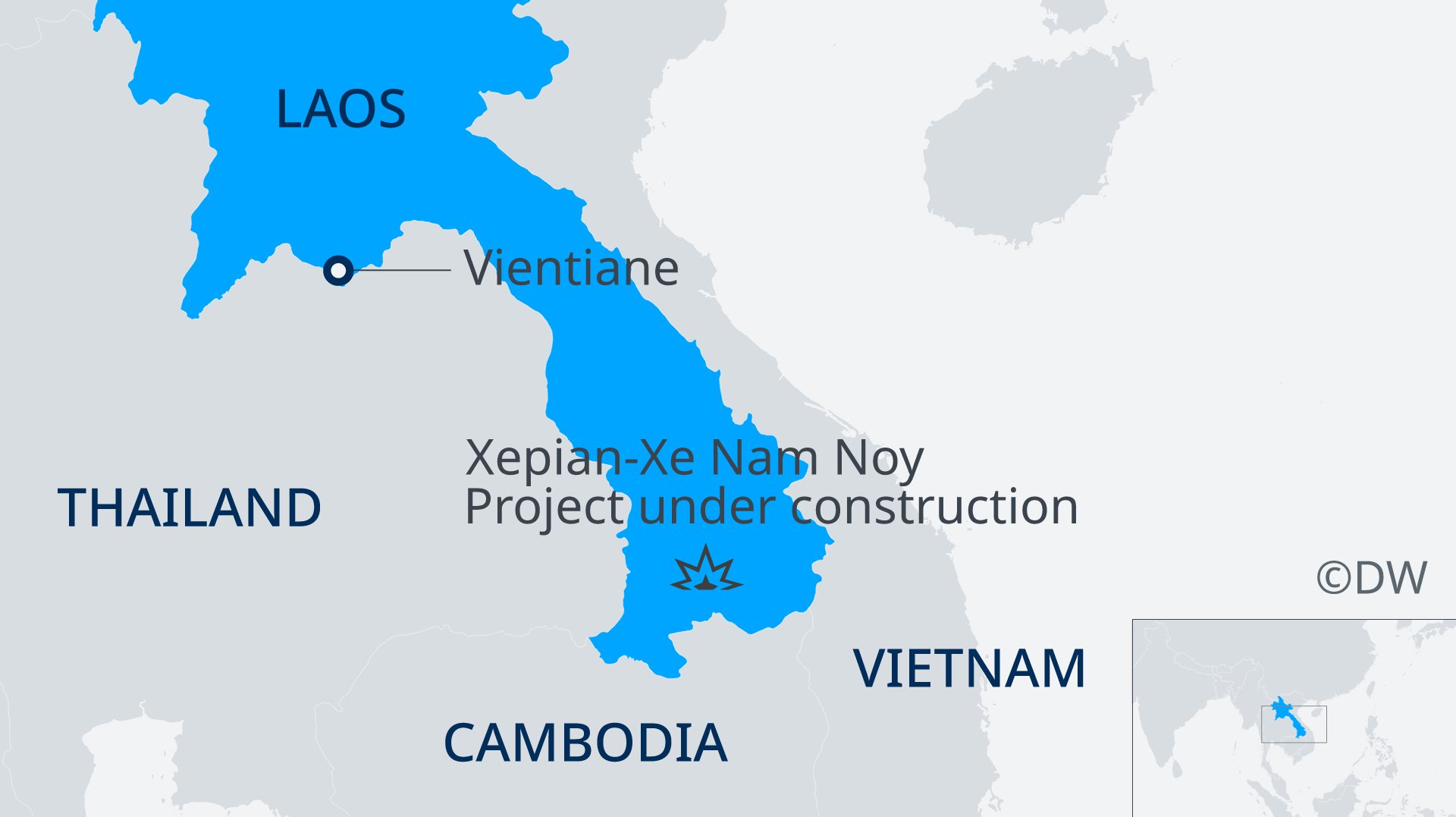 A map of laos showing the location of a dam that collapsed