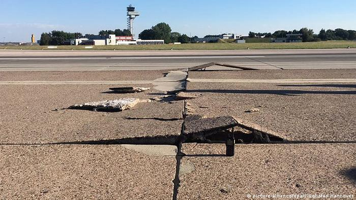 Slabs of the tarmac at Hanover Airport damaged by the summer heat