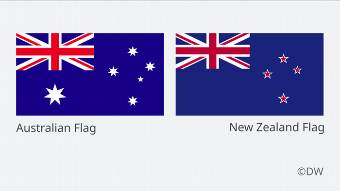The Australian and New Zealand flags