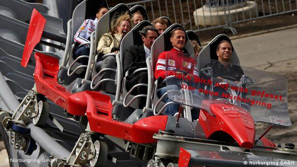 Former F1 champion Michael Schumacher on the Nürburgring rollercoaster Ring Racer
