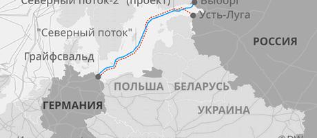 Маршрут газопровода Северный поток-2