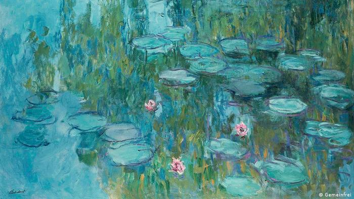 Painting of water lilies in lake (Gemeinfrei)