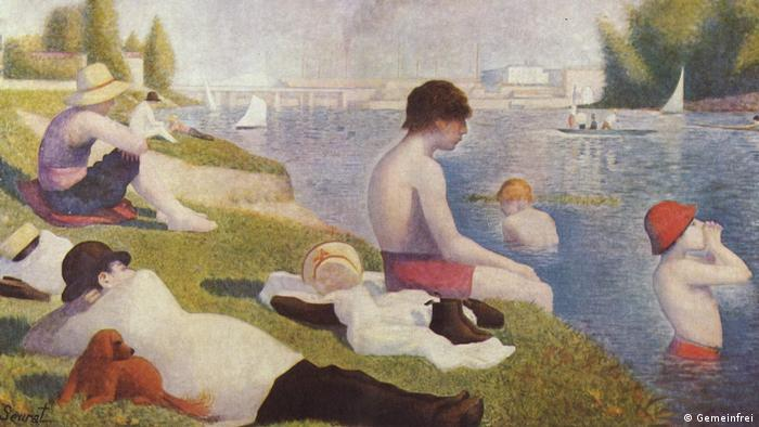Painting of young men by a river( Gemeinfrei, Georges Seurat)