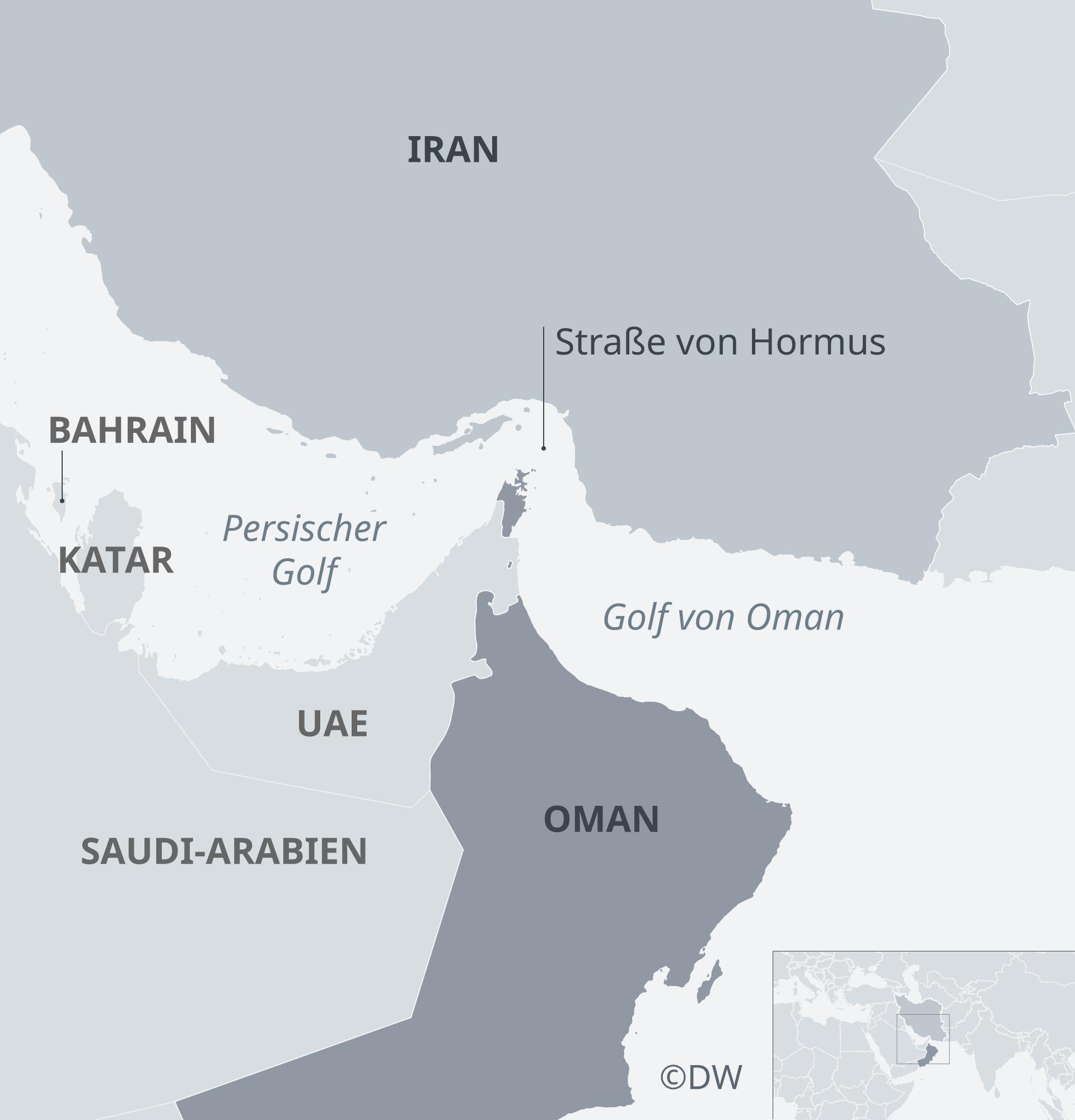 Karte Strait of Hormus Iran Oman DE