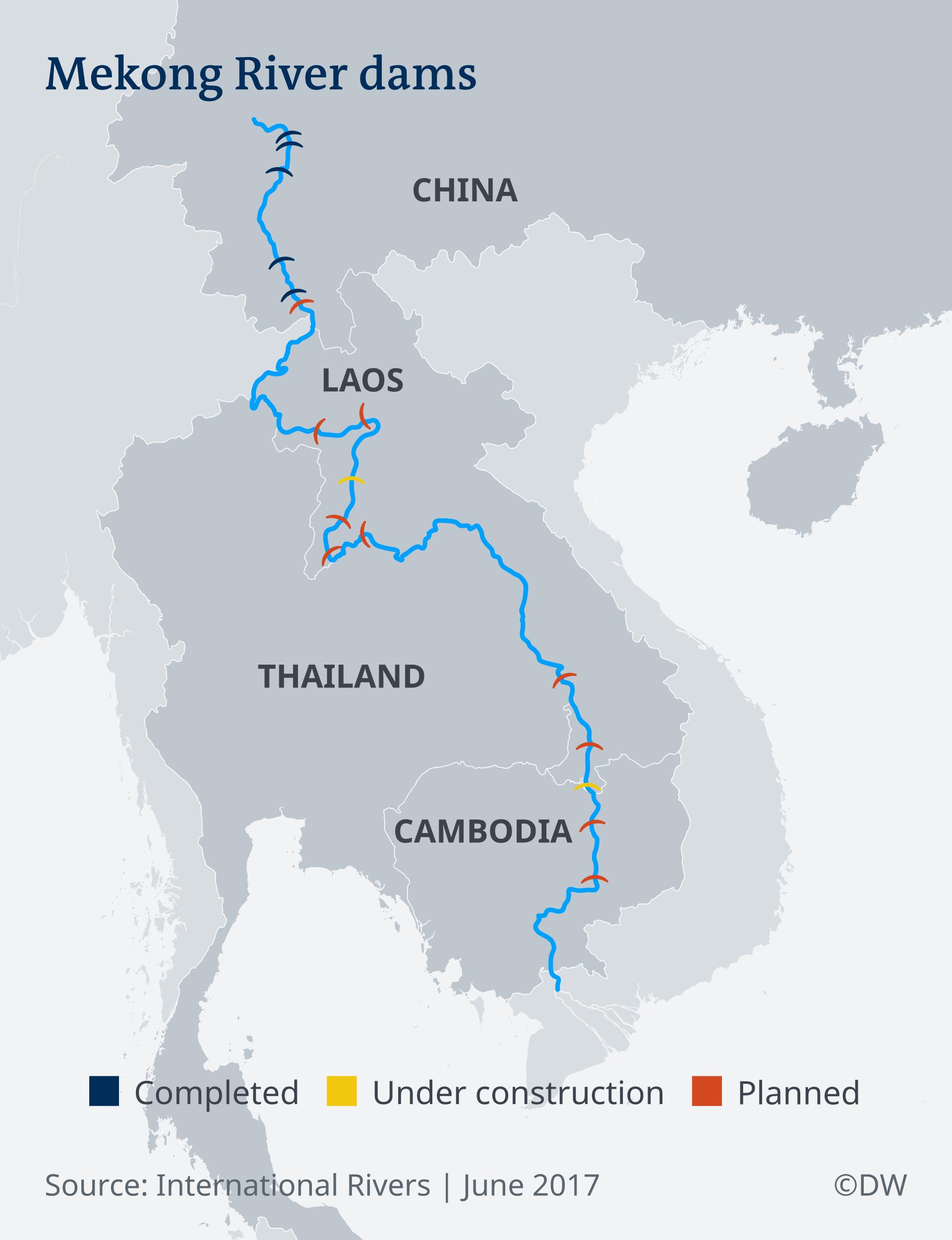 Infografik Staudämme am Mekong EN