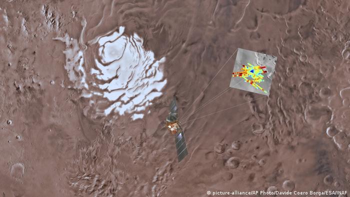 Esta ilustración muestra cómo la sonda ESA Mars Express descubrió agua líquida debajo de una superficie cubierta de hielo, con la ayuda de un sensor de radar especial. Debido a que hace mucho frío en este punto de Marte, el agua debe ser extremadamente salada. De lo contrario, no sería líquida, y el radar no la habría detectado.