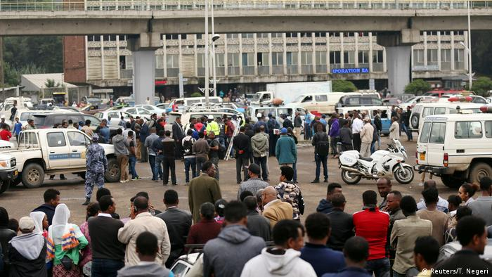 Crowds assembled at the scene, where Semegnew Bekele's car was parked
