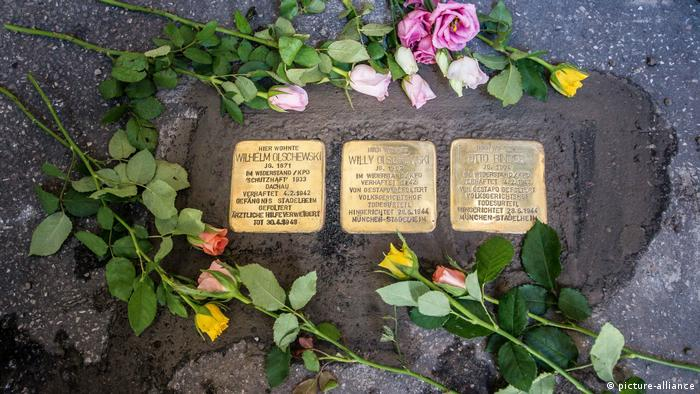 Stumbling stone memorials for Holocaust victims in Munich