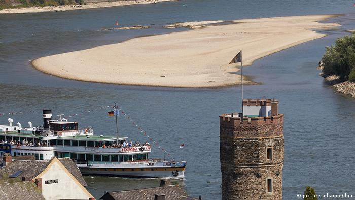A large sandbar in the rhine river Rhine due to a pronlongued drought