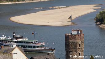 Обмеление на Рейне из-за засухи