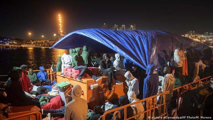 African migrants onboard a Spanish rescue ship