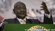 Uganda's President Yoweri Museveni speaks at a special party conference of South Sudan's ruling party, during a visit to Juba, South Sudan Thursday, May 3, 2018. South Sudan's troubled ruling party is trying to pull itself together ahead of a new round of peace talks but the visit on Thursday of Uganda's President Yoweri Museveni came amid reported friction inside the administration of South Sudan's President Salva Kiir. (AP Photo/Bullen Chol) |