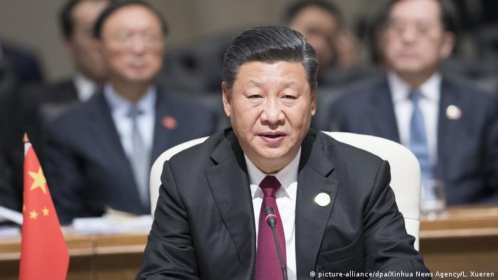 Südafrika | Xi Jinping spricht auf dem BRICS Summit (picture-alliance/dpa/Xinhua News Agency/L. Xueren)