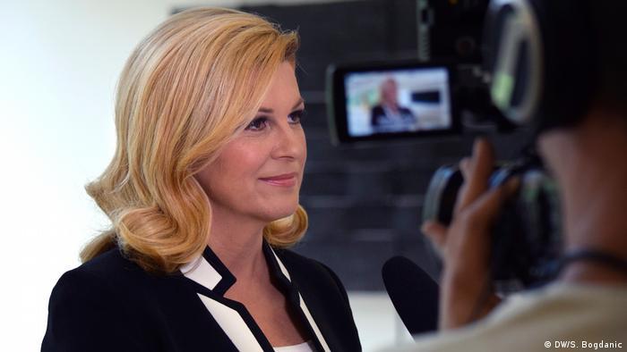 Kolinda Grabar-Kitarovic talks to DW's Srecko Matic