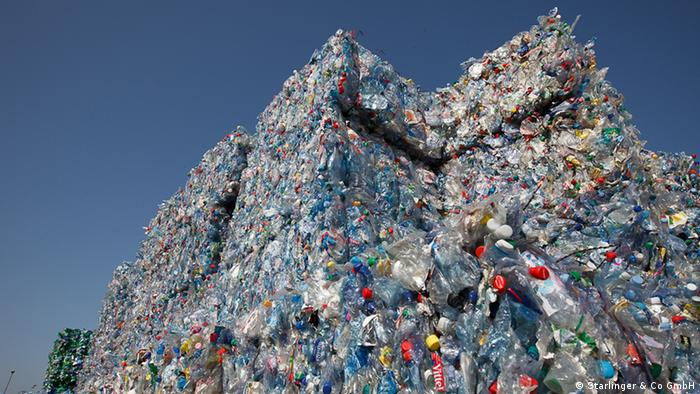 Mountains of plastic waiting to be recycled