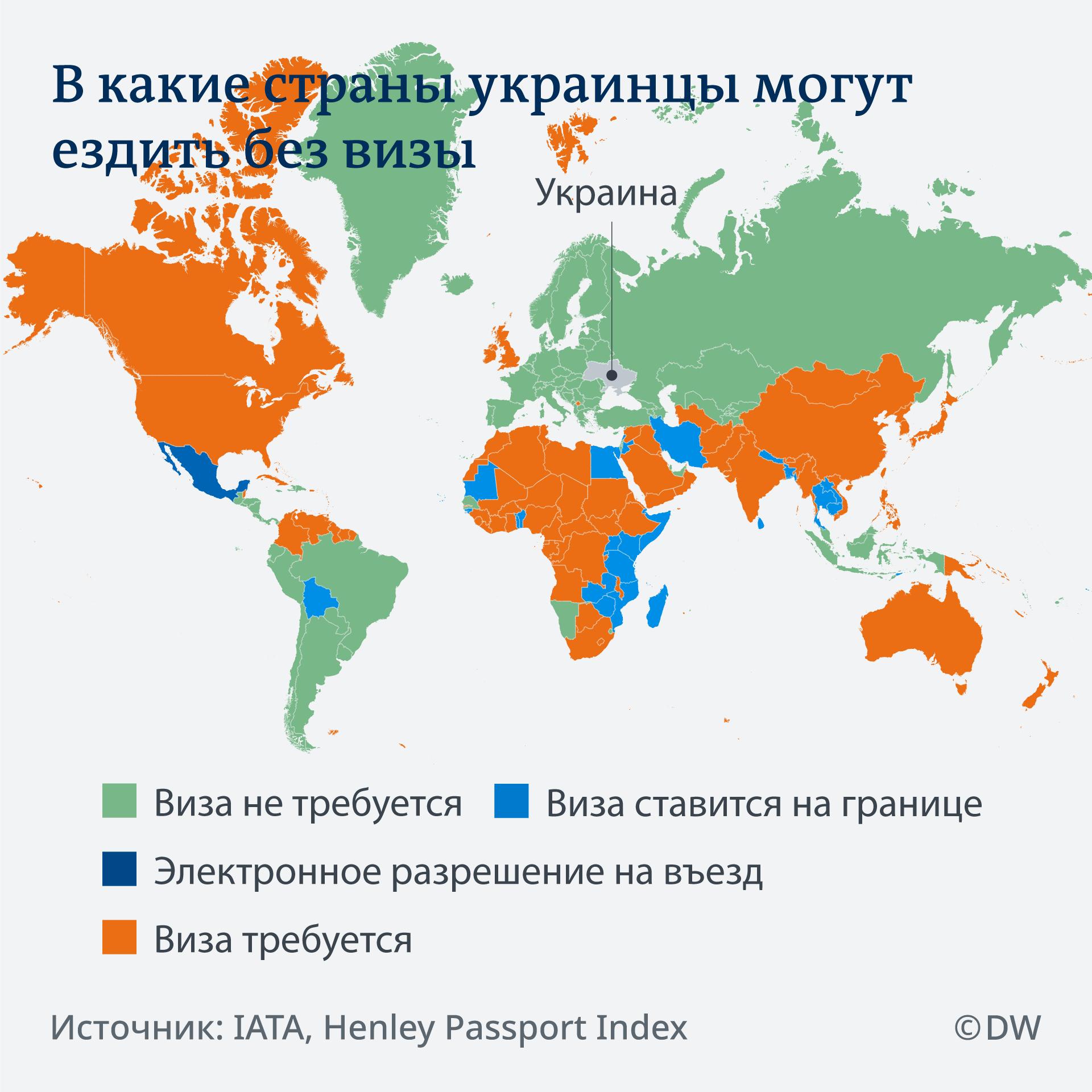 Infografik Karte Visa freie Länder für Ukrainer RU