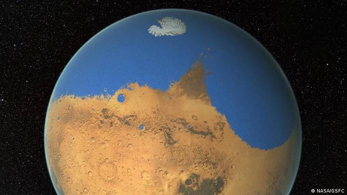 La Agencia Espacial Europea (ESA) descubrió en 2018 agua líquida bajo una superficie cubierta de hielo.