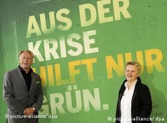 Senior Green politicians Renate Kuenast and Juergen Trittin in Berlin