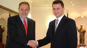 Javier Solana bei Nikola Gruevski in Mazedonien