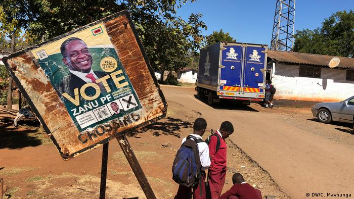 A poster for the 2018 general election in Zimbabwe supporting President Emmerson Mnangagwa