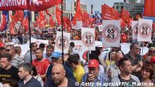 Russland Moskau Demonstration gegen Rentenreform