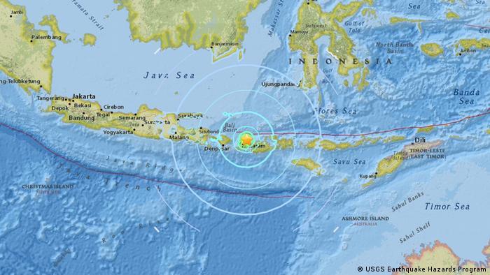 USGS Earthquake Hazards Program - Meldung Erdbeben Lombok (USGS Earthquake Hazards Program)