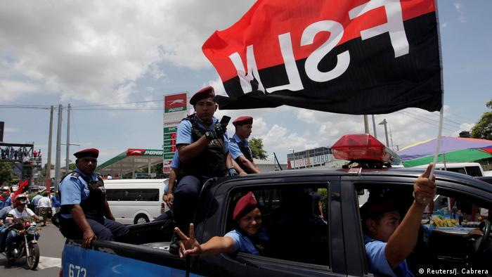 Government supporters in the capital, Managua