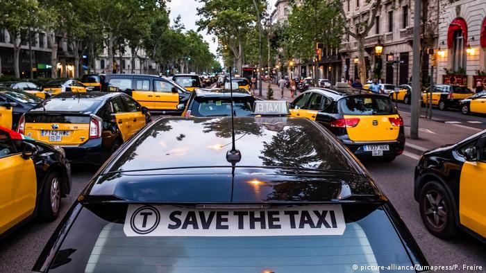Spanien   Taxifahrerstreik in Barcelona