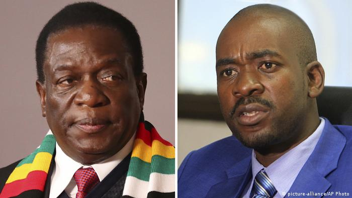 A picture showing Mnangagwa (left) and Chamisa (right)