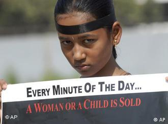 A participant attends a march against child trafficking in India
