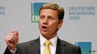 Guido Westerwelle gives a press conference