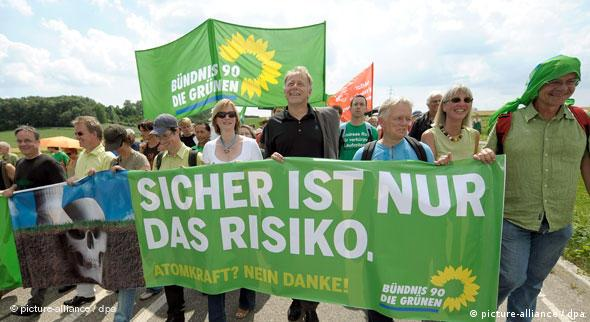 Green party members demonstrate against nuclear power