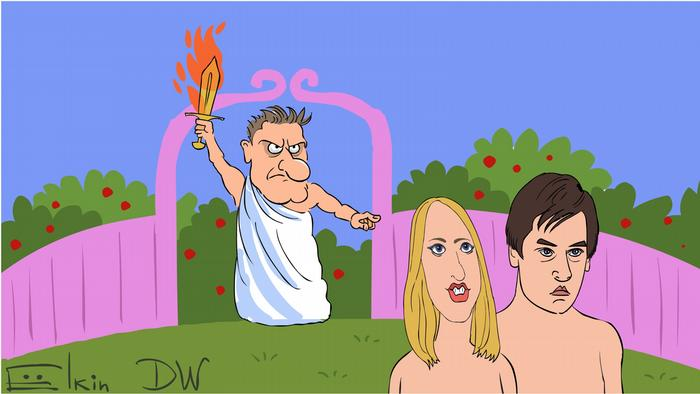 Алексей Навальный в образе Бога изгоняет из оппозиционного рая Гудкова и Собчак - карикатура Сергея Елкина
