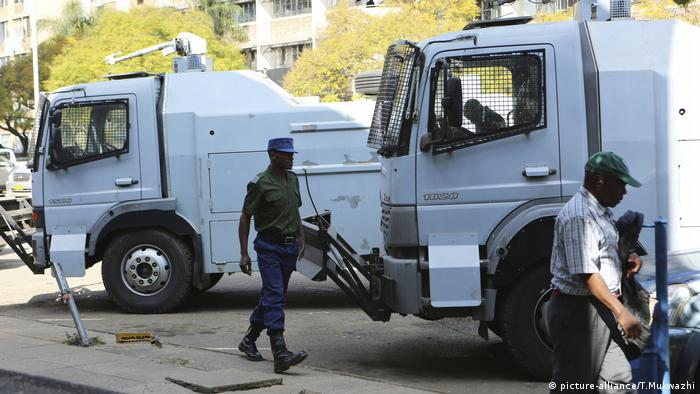 Police with water cannons in the capital city of Harare, Zimbabwe