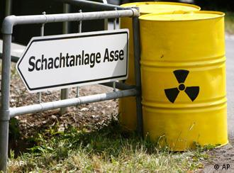 Yellow containers with nuclear sign