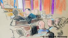 Former Trump campaign manager Paul Manafort is shown in a court room sketch, as he sits in federal court on the opening day of his trial on bank and tax fraud charges stemming from Special Counsel Robert Mueller's investigation into Russian meddling in the 2016 U.S. presidential election, in Alexandria, Virginia, U.S. July 31, 2018. REUTERS/Bill Hennessy NO ARCHIVES, NO SALES. MANDATORY CREDIT.