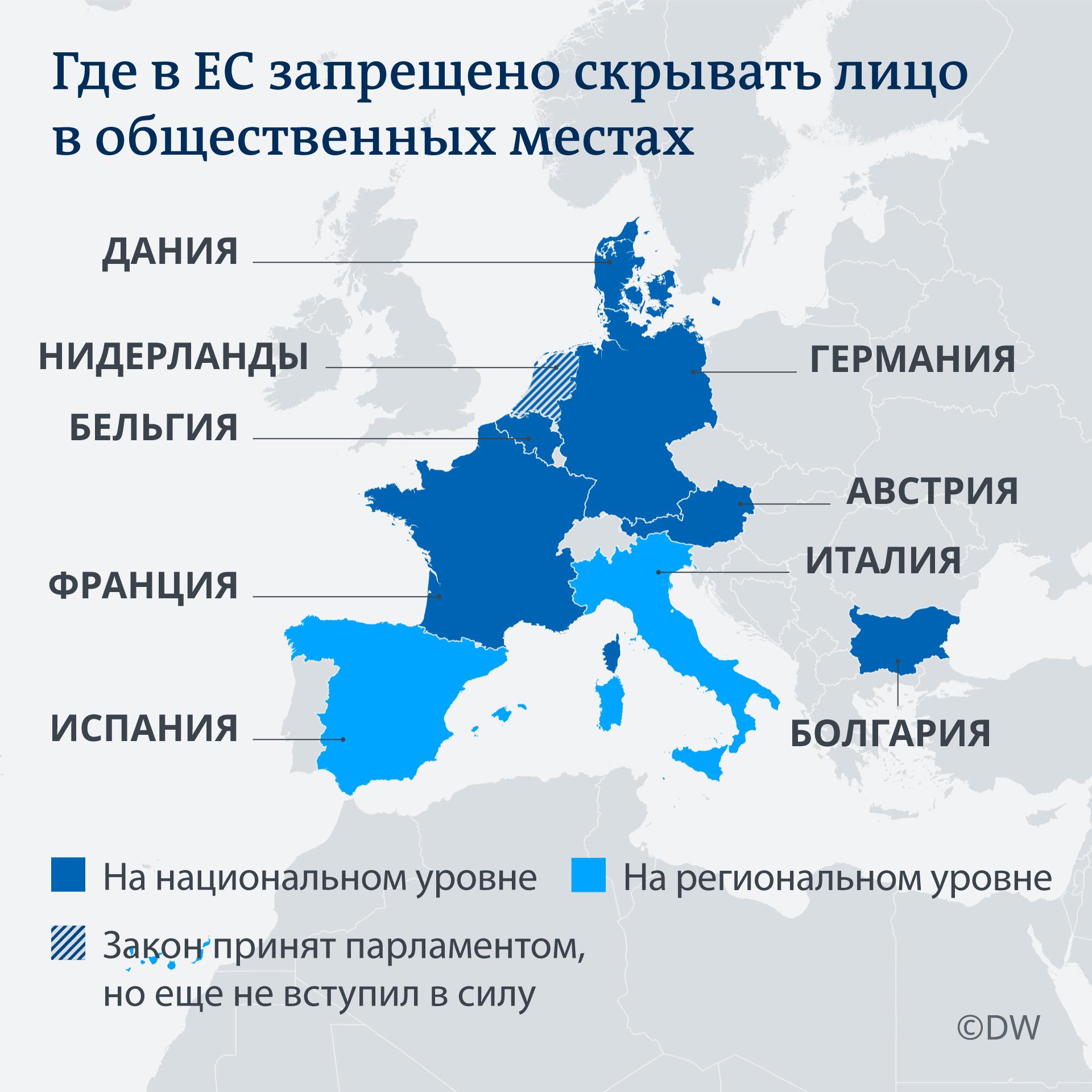 Infografik Burkaverbot in EU-Staaten RU