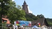 Der Burgkeller unterhalb des Kyffhäuserdenkmals in Thüringen ist am 04.06.2016 von AfD-Anhängern besucht. Hier feiert die Patriotische Plattform der AfD ein Sommerfest unter Ausschluss der Öffentlichkeit. Foto: Bodo Schackow/dpa +++(c) dpa - Bildfunk+++   Verwendung weltweit