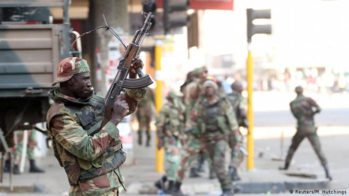 Zimbabwean soldiers in the streets of Harare