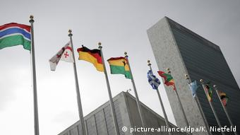 Flags at UN headquarters in New York